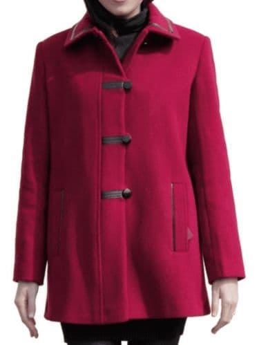 Womens Red Leatherette Trim Jacket K927