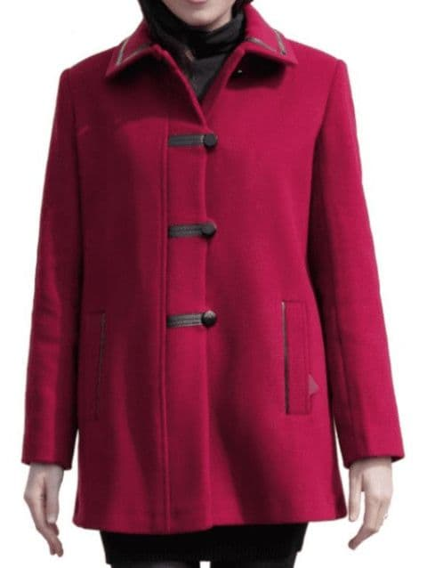 Womens Red Leatherette Trim Jacket K927