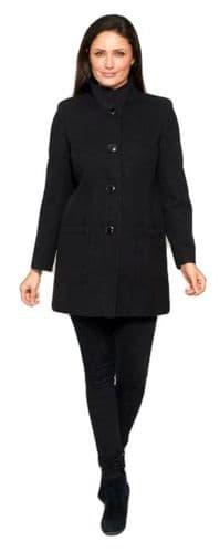 Womens Short Black Crêpe Coat K127W