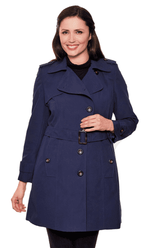 Womens Short Navy Trench Rain Coat db301