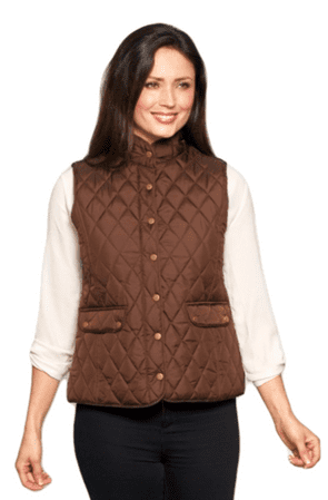 Womens Short Quilted Zip Up Brown Gilet db602103
