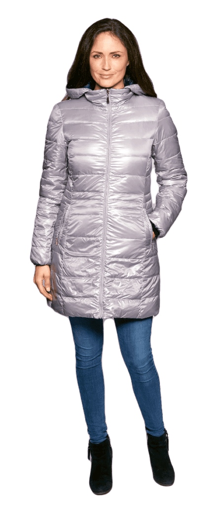Womens Silver-Navy Reversible Feather Down Padded Coat db924