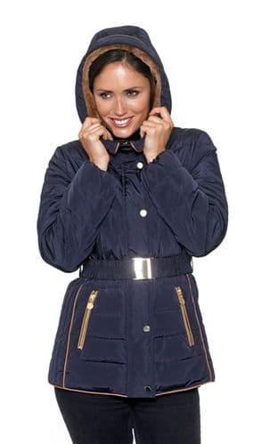 Womens Stunning Faux Down Navy Jacket db630