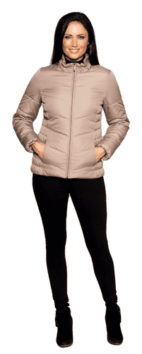 Womens Taupe Short Padded Zip Up Jacket db6508