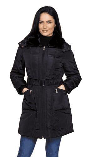 Womens Warm Padded Hooded Black Coat db959
