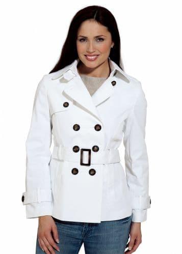 Womens White Cotton Trench Rain Jacket db293