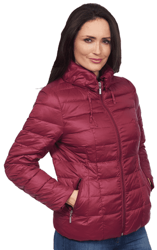 Womens Wine Feather Down Padded Hooded Winter Jacket db725