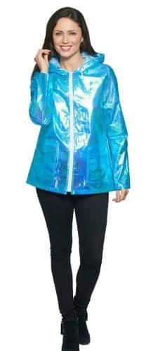 Womens Zip Up Hooded Blue Festival Mac Coat  db2017
