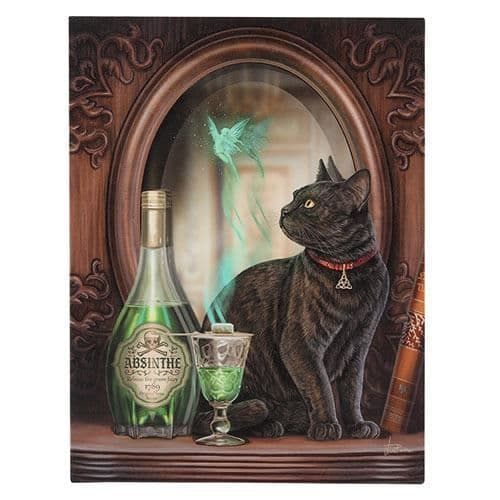 Absinthe Cat and Green Fairy Canvas Picture by Lisa Parker