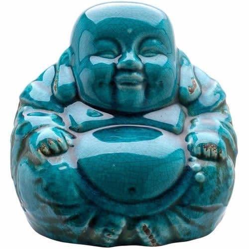 Chinese Buddha Blue Crackle Glaze 18cm