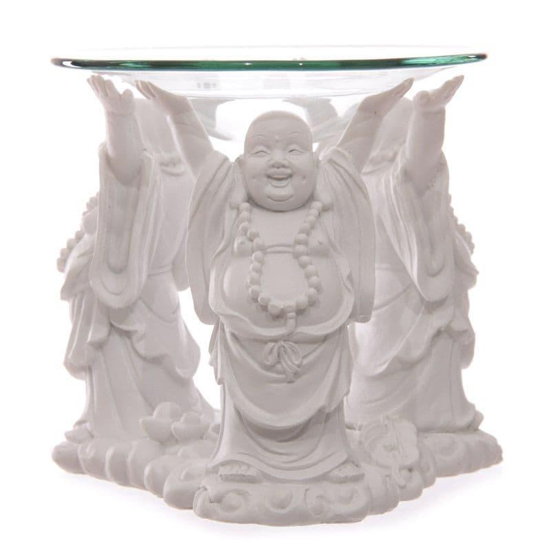 Chinese Buddha Oil Burner with Glass Dish - White