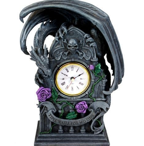 Dragon Clock with Purple Roses