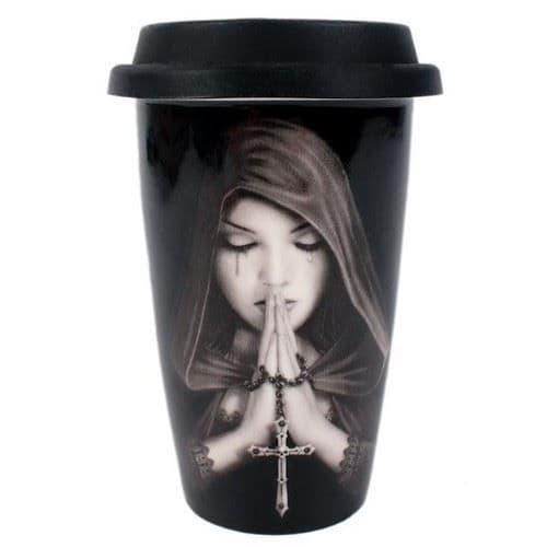 Gothic Prayer Ceramic Travel Mug