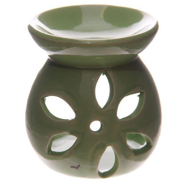 Green Simple Flower Cut Oil Burner