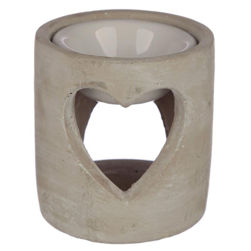 Grey Eden Concrete Industrial Style Heart Cut-Out Oil Burner