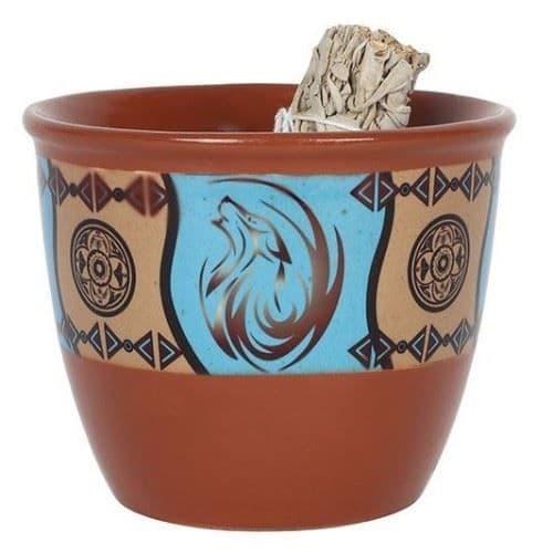 Terracotta Ceramic Smudge Bowl Dream Catcher Design