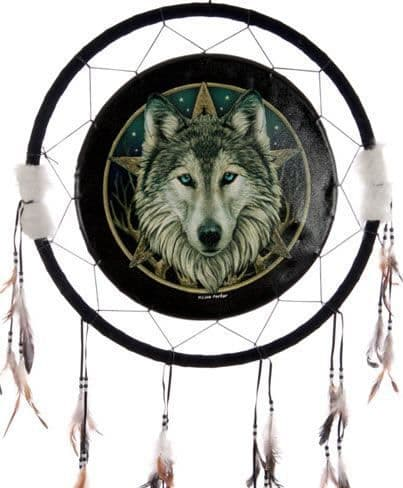 Wolf Head & Star Dreamcatcher - Extra Large by Lisa Parker
