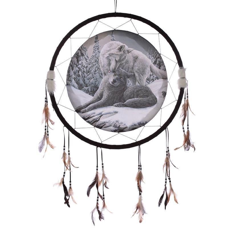 Wolf Snow Kisses 33cm Dreamcatcher