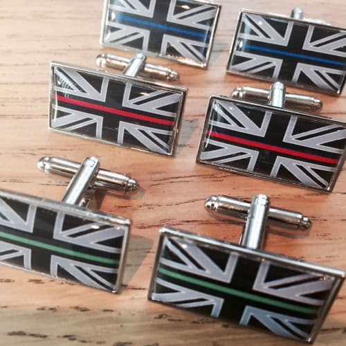 Emergency Services Thin Line Domed Resin Union Flag Cufflinks TBL13