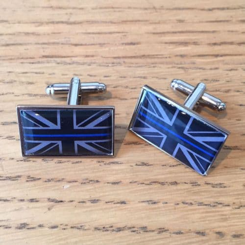 Thin Blue Line Domed Resin Dark Grey Union Flag Cufflinks TBL11