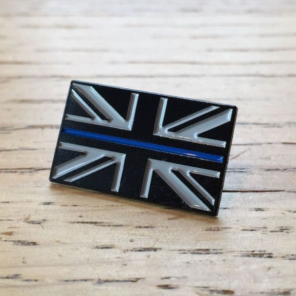 Thin Blue Line Union Flag Police Enamel Lapel Pin Badge TBL01