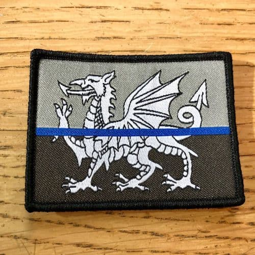 Thin Blue Line Wales Welsh Dragon Flag Tac Vest Badge TBL04W/B with Velcro
