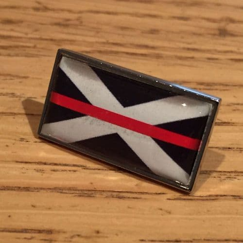 Thin Red Line Scottish Scotland Flag Fire Service Pin Badge EL TBL07S Red