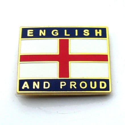 """English and Proud"" England Pin Badge - Blue"