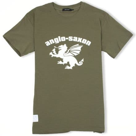 Anglo-Saxon White Dragon T-Shirt - Military Green