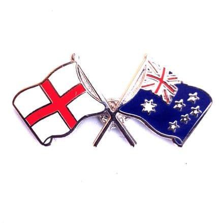 England and Australia Crossed Flags Lapel Badge