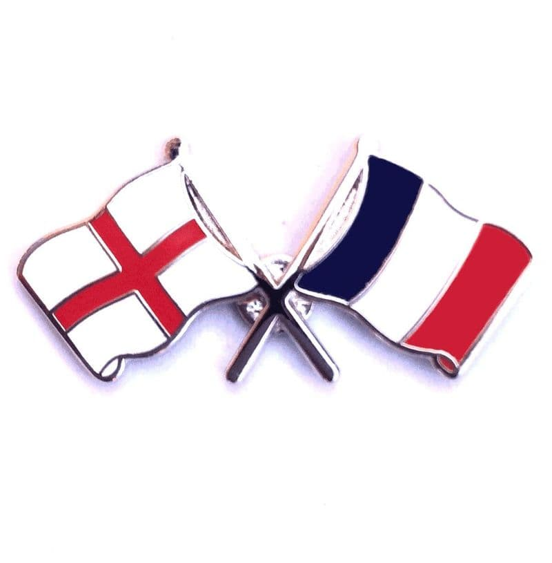 England Flag and French Flag Crossed Lapel Badge