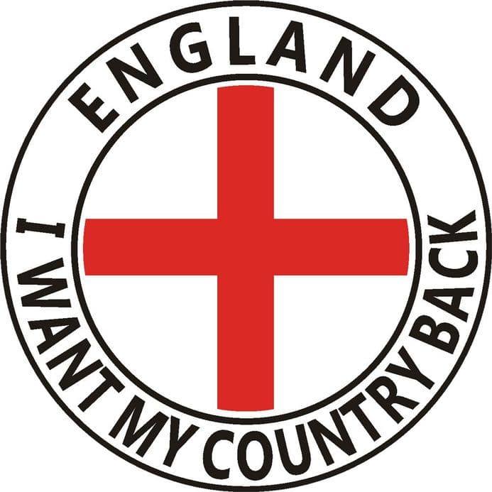 England Car Window Sticker - I Want My Country Back