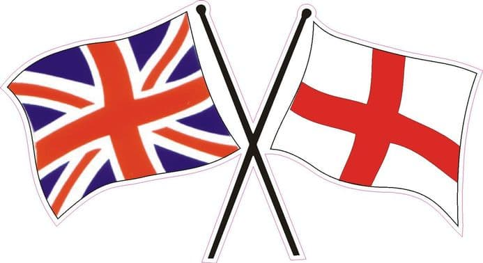 Car Window Sticker with Crossed Union Jack and England Flag