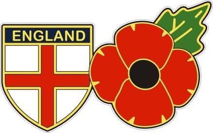 England Shield Flag And Poppy Car Sticker