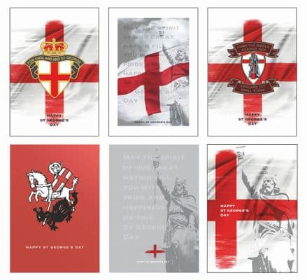 Mixed Pack of 6 St George's Day Cards