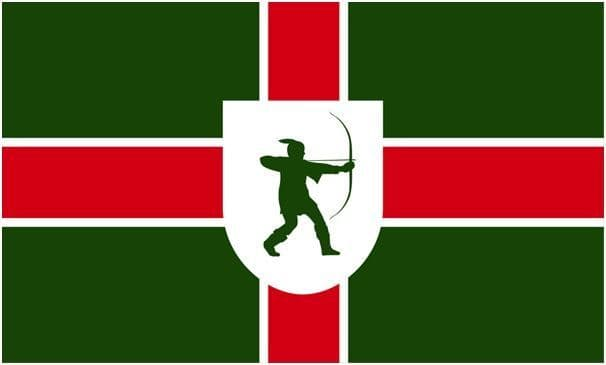 Official Nottinghamshire County Flag - 5ft x 3ft polyester flag with metal eyelets