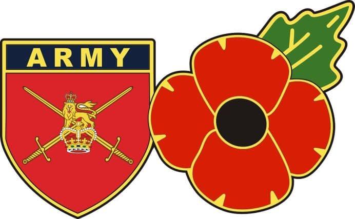 British Army Flag Shield and Poppy Car Window Sticker