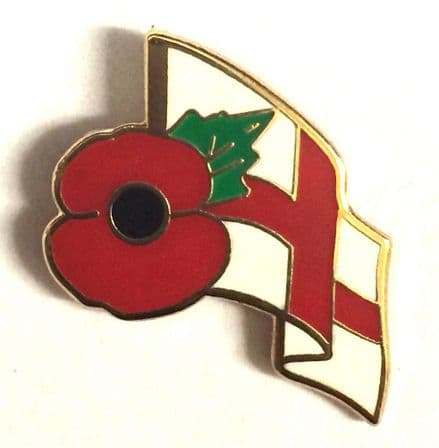 Poppy and England Flag Lapel Badge