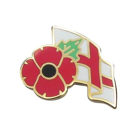 Poppy and England Flag Lapel Badge