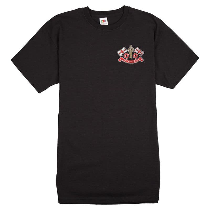 Remembrance Sunday Poppy T-shirt with soldier and flags logo