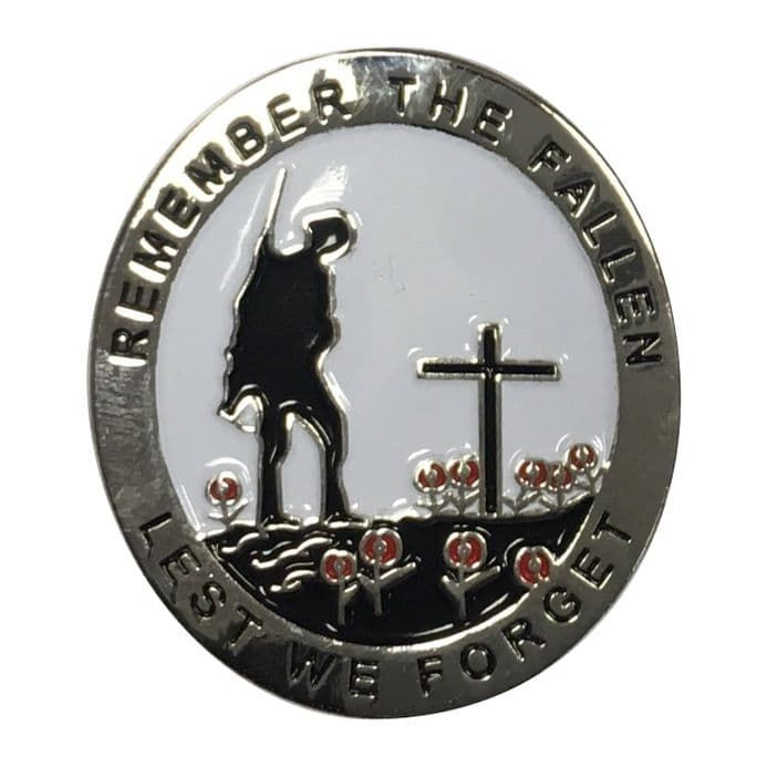 Poppy Badge with Soldier - Remember The Fallen