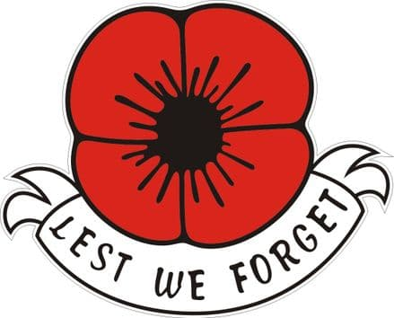 "Poppy Car Sticker ""Lest We Forget"""