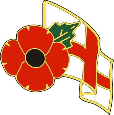 Poppy Car Sticker With Poppy and England Flag