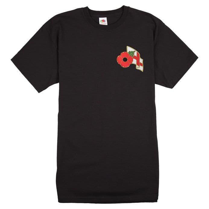 England T-shirt with Remembrance Sunday Poppy Logo