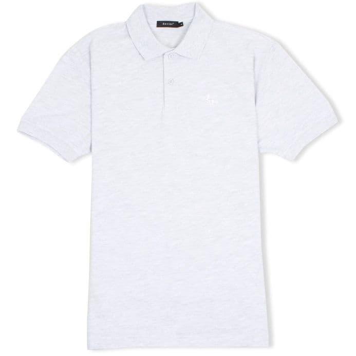 Senlak Classic Pique White Dragon of the English Polo Shirt - Ash Grey