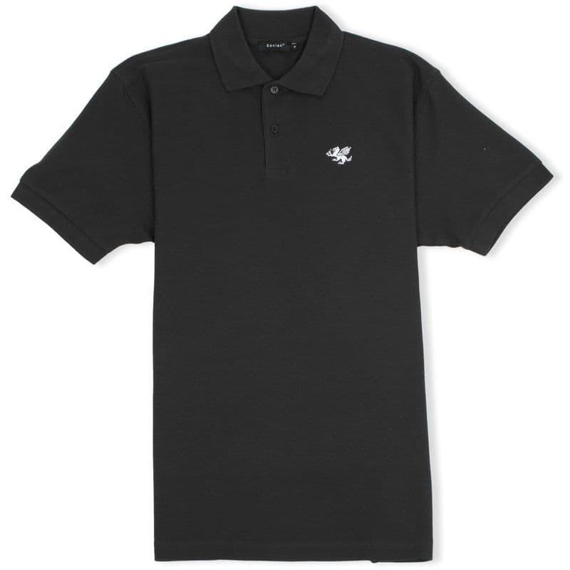 Senlak Classic Pique White Dragon of the English Polo Shirt - Black