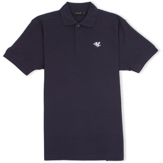 Senlak Classic Pique White Dragon of the English Polo Shirt - Navy