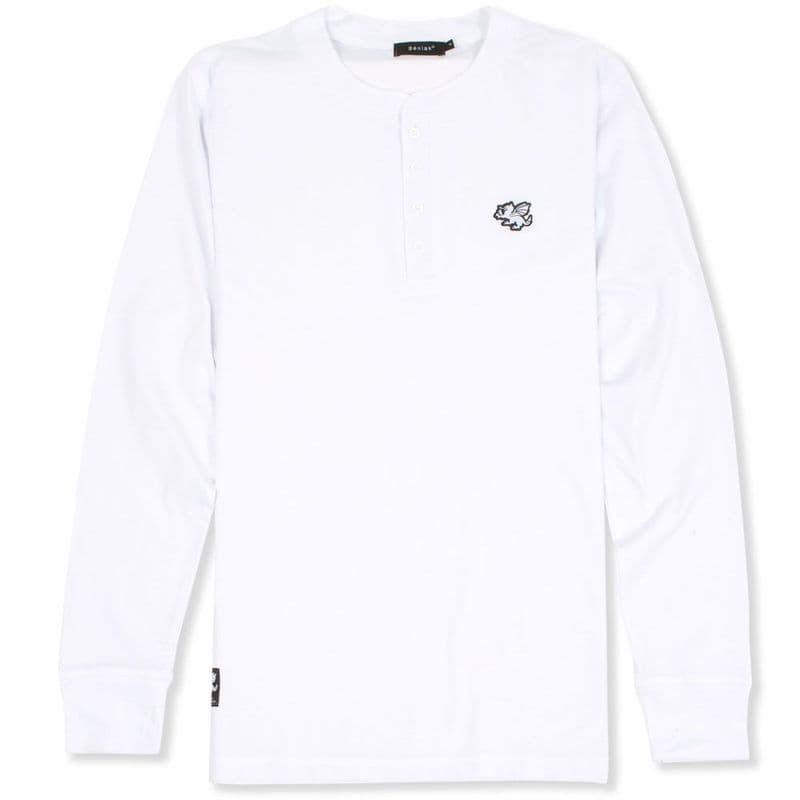 Senlak Henley Longsleeve T-Shirt - White