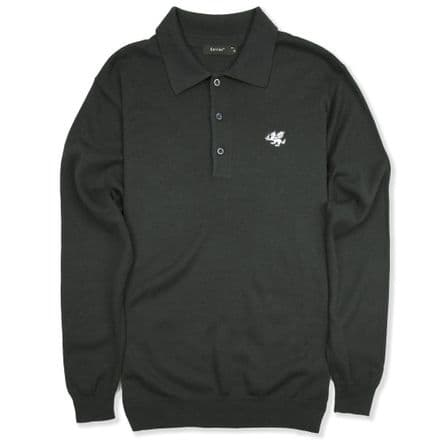 Senlak Long Sleeved Knitted Polo Shirt - Graphite