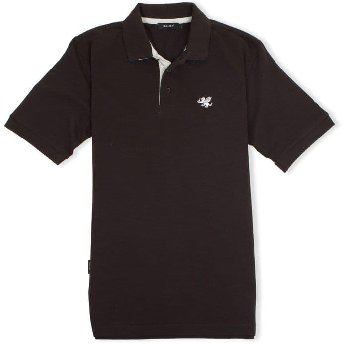 Senlak Striped Under Collar Polo Shirt - Black with Anglo-Saxon White Dragon logo